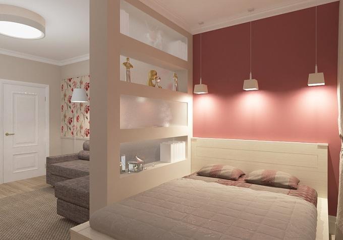 зонирование комнаты освещением